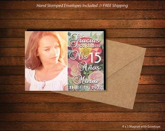 Quinceanera / Quince Party Favor  |  Birthday Photo Magnet  |  Personalized Party Favor > Envelopes Included > FREE SHIPPING