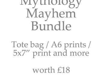 Greek Mythology Stationery Bundle: 6 Prints, 1 Tote Bag and More Back to School Study Stationery Bundle Student Gift Percy Jackson Inspired