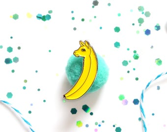 Ballama pin, enamel pin, banana enamel pin, llama enamel pin, llama pin, pins, food pin, fruit pin, fun pin, cute animal pin, llama brooch