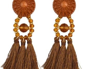 Gold large tassel earrings