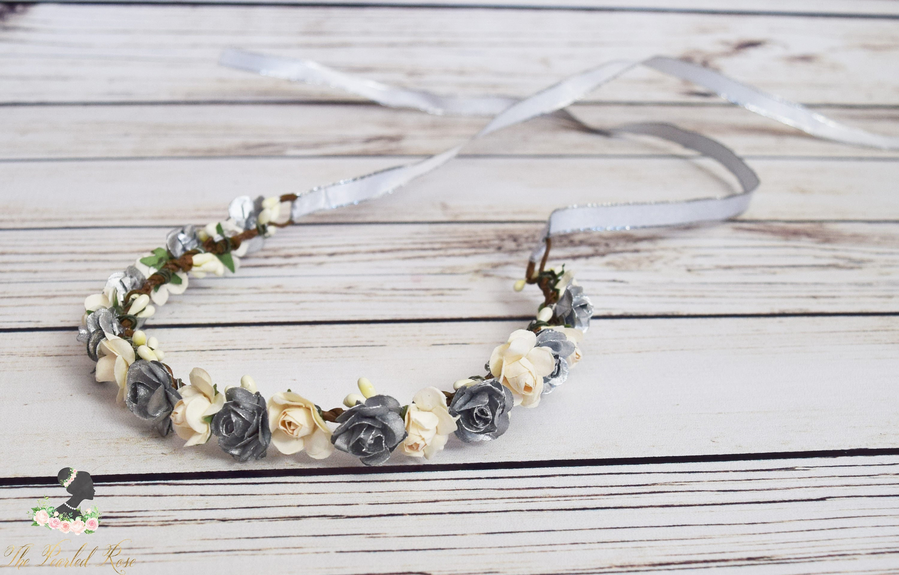 Handcrafted Silver And Cream Flower Crown Small Flower Crown