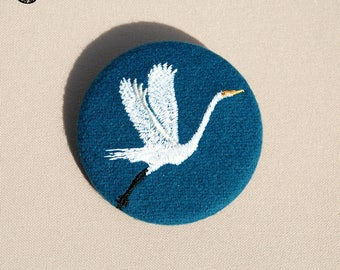Great White Heron embroidered brooch