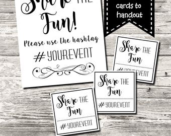 Social Media Hashtag Sign Share the Fun Share The Love with Handout Cards Digital Printable