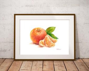 Fruit Art - Painting of Mandarin Food Still Life Print Watercolor Painting Fine Art Home Decor Realistic Kitchen art