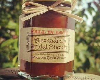Apple Butter - Jam Favors - Fall in Love - Wedding Favors - Mini Jam Spreaders - Bridal Shower Favors - Apple Favors - Personalized Favors