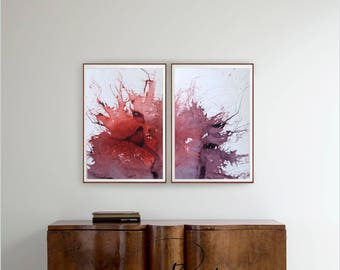 Set of 2- Abstract ink painting- Art, abstract art, nature, minimal art, star, explosion, diptych, minimalist art, modern art, original art