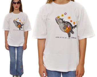 Vintage 80s B. Kliban Carmel By the Sea Cat with Flowers Crazy Shirts T Shirt Sz L