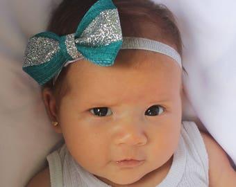 Baby Headband, Baby Bows, Aqua Baby Bow, Hair Bows, Hair Accessories, Newborn Headband, Silver Headband, Infant Headbands, Toddler Headband
