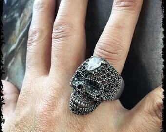 Sterling Silver Skull Ring Skull Ring Masonic Ring Skull Ring Sterling Silver Skull Ring Silver Biker Skull Ring Outlaw Skull Badass Ring