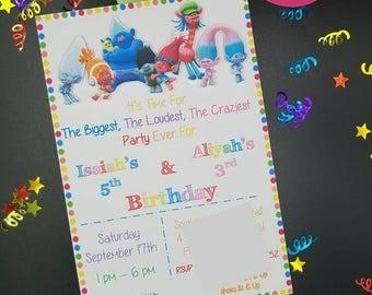 Trolls Party, Trolls Flat Invitation, Trolls Birthday, Poppy and Branch, Trolls Invite, Trolls Decor, Trolls Invitation, Birthday Invite