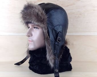 Size: L, Men/Women Ushanka, Fur Bomber Hat, Aviator Trapper Hat Cap, Russian Hat, Real Black Leather, Recycled Raccoon Fur CA17b