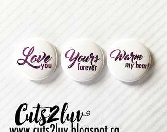 "3 Badges 1"" Warm my heart Métallique violet"