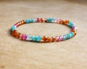 Orange, Pink & Turquoise Bracelet - Boho Bracelet - Bohemian Jewellery