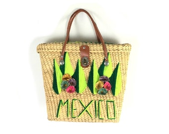 Straw purse, straw bag, Mexico bag, vacation bag, boho bag, boho purse, woven purse, vintage purses