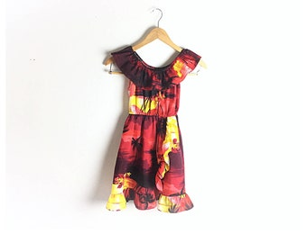 Girls dress, Hawaiian dress, tiki dress, red dress, summer dress, vintage dress, size 8