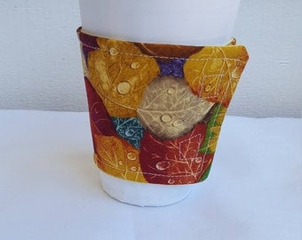 Autumn leaves beverage or coffee cozy - reversible