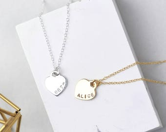 Heart Name Necklace, Sterling Silver Heart Necklace, Gold Name Necklace, Silver Name Necklace, Personalised Heart Necklace, Name Pendant
