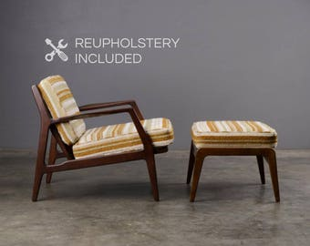 Mid Century Lounge Chair and Ottoman Danish Modern Ib Kofod Larsen Selig