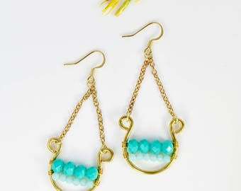 Brass & Turquoise Hanging Earrings, Hammered, Fun Beadwork