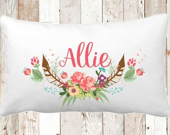 Travel Pillow, Girls Decor, Girls Pillow, Baby Pillow, Personalized Pillowcase, Antler Pillowcase, Flower Pillow, Ryelle, Pillowcase