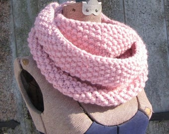 SALE 30% OFF Light Pink Infinity Scarf - Chunky Pink Scarf - Soft Pink Wool Cowl - Baby Pink Scarf - Rose Petal Wool Scarf - Gift for Her