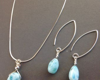 Larimar Necklace - Larimar Jewelry - Larimar pendant - Minimalist Jewelry - Bridal Jewelry - Beach wedding - Bridal set - Larimar set