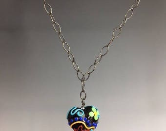 Heart Necklace - Heart Pendant - Valentines Jewelry - Lampwork bead necklace - Heart Jewelry - Gift for Her - colorful heart - Painted Heart