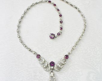 RESERVED - ROBIN -Vintage Signed BOGOFF Deep Purple and Clear Rhinestone Necklace - silver tone metal - choker style - plum purple - gift