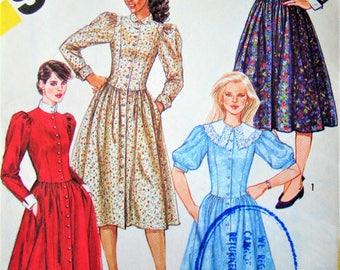 """Uncut Retro 1980s Dress Sewing Pattern Simplicity no 6030 Size 10 Bust 32.5"""" 83cm Vintage 1984"""