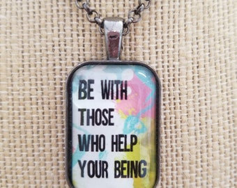 Painted Quote Necklaces, Inspirational Charm Jewelry, Encouragement Gifts, Choose Joy and Be Positive, Buddha
