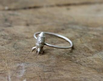 Rocket ring sterling silver ring stacking ring - MINI