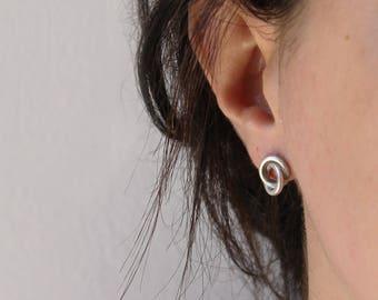 Double circle earrings sterling silver studs minimalist earrings - JACKIE