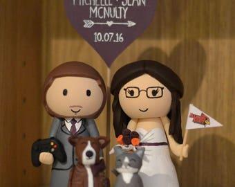 Custom made wedding cake topper - Bride, Gaming Groom with Cat & Dog