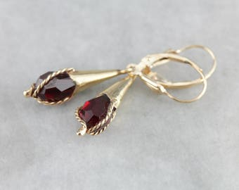 Vintage Red Ruby Glass Drop Earrings, Ruby and Gold Earrings 9NEDDY-D