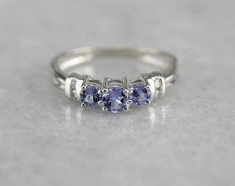 Tanzanite and Diamond Ring, Blue Stone Ring, Anniversary Ring YH1FXAUE-D