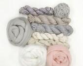 Huge Weaving Yarn and Sari silk Ribbon variety pack Kit  (Pastels)