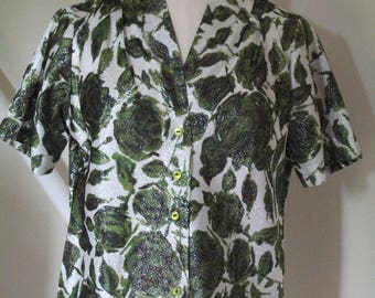 Vintage 1950s Metallic Blouse - Black,Green,White Floral shot through with Silver - Pleat detail to front shoulders - by Elyacht - Size 34