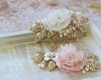 Blush Pink Bridal Hair comb, Wedding Hair piece , Wedding Hair comb ,Bridal Hair flower, Wedding Accessory,  Gold  Blush Headpiece