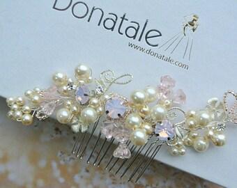 Bridal Headpiece, Blush  Wedding Hair comb ,Wedding Hair piece ,Bridal Hair piece,Flower Wedding Accessory,  Pink Hair comb, UK