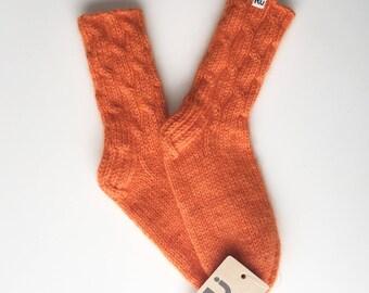 Orange Soft, long-lasting hand knitted socks Warm socks Soft winter socks Boots socks Slipper socks Cable knit socks Mohair yarn socks