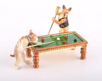 Dogs Playing Billiards Trinket Box Decorated with Swarovski Crystals by Keren Kopal Faberge Style Home Decor