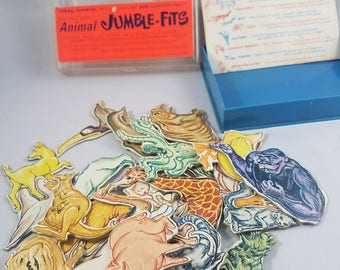 Cadaco Cluster Puzzle #1  |  Jumble-Fits Animals  |  Vintage Puzzle 1964  |  Brain Teaser Game  |  With Case & Hint Sheet