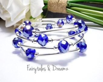 Blue Glass Photo Bracelet, Memorial Photo Bracelet , Custom Photo Bracelet, Memory Wire, Wrap Bracelet, Photo Jewelry , 16mm Photo ,UK