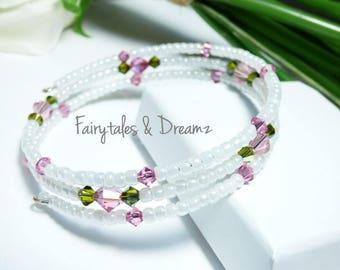 Pink Swarovski Crystal Bracelet, Wrap Bracelet , Memory Wire Bracelet, Tiny beaded Bracelet