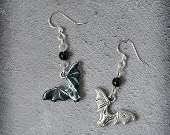Batting Wings Double sided Earrings OOAK Handmade Black and Silver Bat Earrings Halloween Gothic