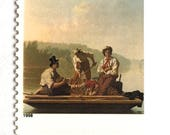 5 Vintage Painting Postage Stamps // Painter George Caleb Bingham // Missouri River Boatmen // Postage Stamps for Mailing