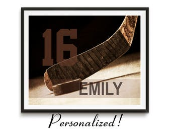 Personalized hockey art, Hockey gifts, Sports gift, Team Gifts, Teen birthday, Girls, Sports decor, Man cave art, Kids room decor // Hockey
