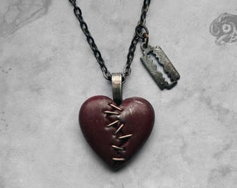 Gothic 'This Love' razor blade + heart necklace // Red + silver clay heart + gunmetal chain // Macabre Loveheart Horror Punk Goth jewellery