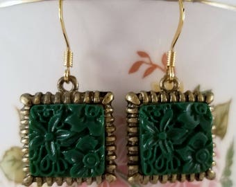 Faux Jade and antique gold earrings.