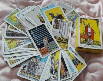 Tarot card deck complete, rider waite tarot cards vintage full deck print 1971 Berlin